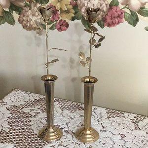 Vintage Set of 2 Gold Rose Pillars
